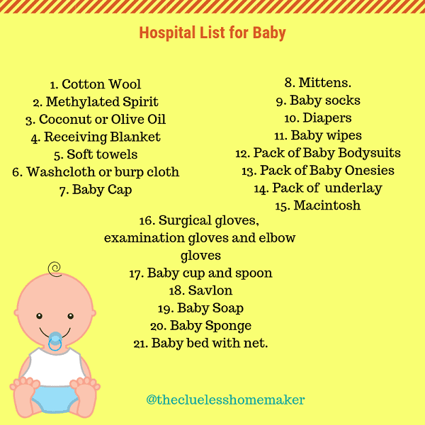 Hospital list of baby things